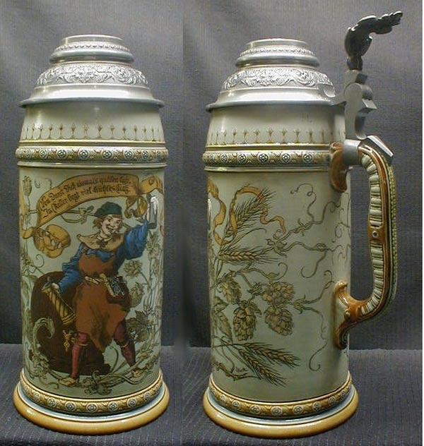 Крассическая пивная кружка 'Хранители винного погреба' с крышкой от посторонних запахов, сделана в 1941 году в Германии. Ее цена около 1000$